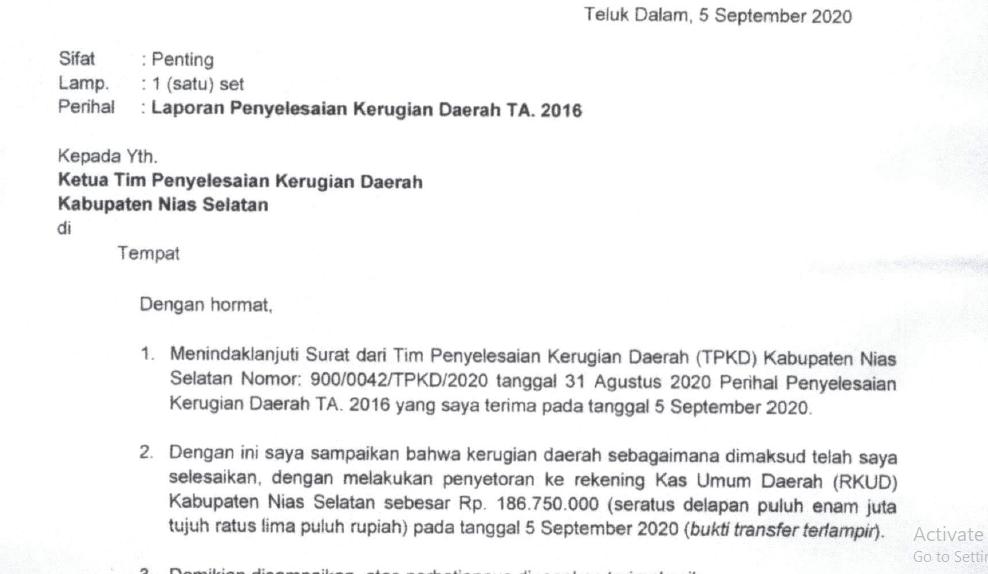 Foto: Potongan Surat Idelisman Dachi kepada TPKD Nias Selatan